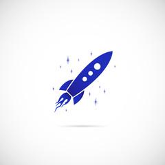 Rocket in Space Vector Symbol Icon