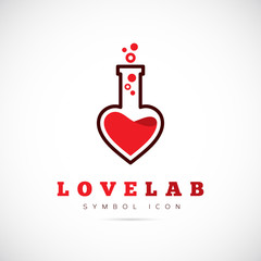 Love Laboratory Abstract Vector Concept Symbol Icon or Logo
