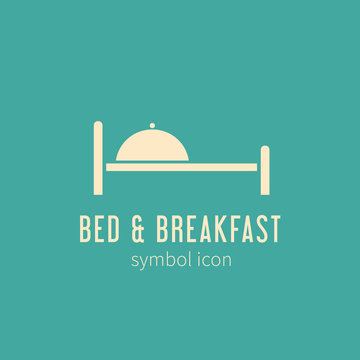 Bed and Breakfast Concept Symbol Icon or Logo Template