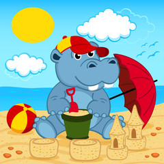 hippo on beach - vector illustration, eps