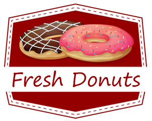 A food with a fresh donuts label