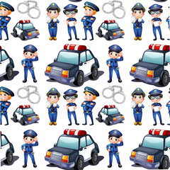 Seamless design with policemen and patrol cars