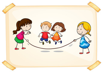 A frame with kids playing