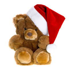 cute vintage teddy bear with red santa hat