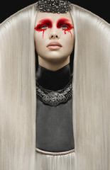 Beautiful pale woman with white hair and gothic make up