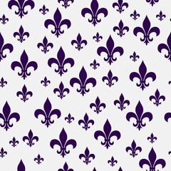Purple and White Fleur-de-lis Pattern Repeat Background