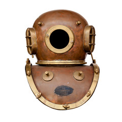 Retro diving helmet isolated