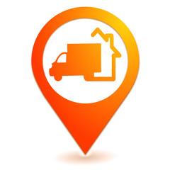Fototapete - livraison à domicile sur symbole localisation orange