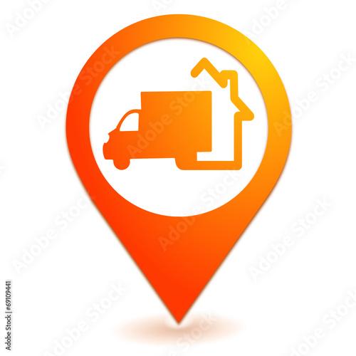 livraison domicile sur symbole localisation orange fichier vectoriel libre de droits sur la. Black Bedroom Furniture Sets. Home Design Ideas