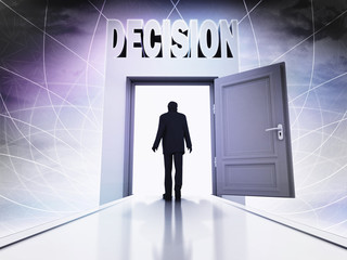 walking person to make decision at magic doorway background
