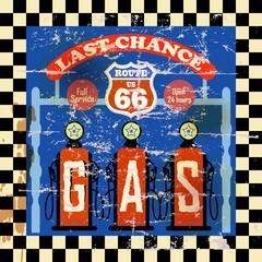 vintage retro route 66 gas station sign, vector illustration
