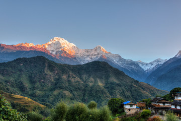 Wall Murals Nepal Ghandruk village in Nepal, HDR photography