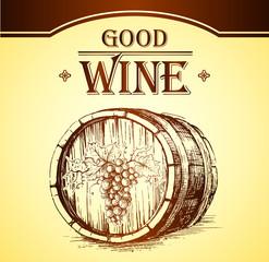 Obraz Wine cask . labels for wine with grapes. Barrel. Ceg - fototapety do salonu