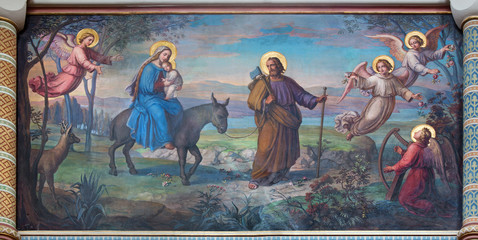Wall Mural - Vienna - Flight of holy family to Egypt in Carmelites church