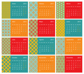 Spanish monthly calendar for 2015