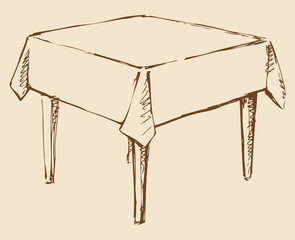 Vector drawing. Square table with tablecloth