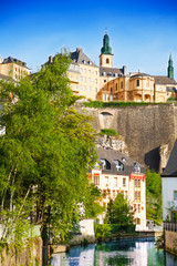 Wall Mural - Cityscape view of Luxemburg with Alzette river
