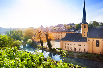Wall Mural - Sunny view of Abbey de Neumunster in Luxembourg