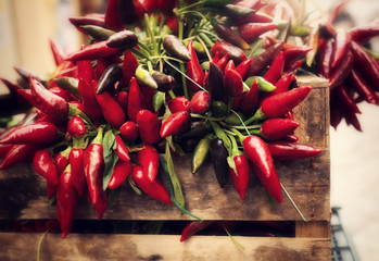 Canvas Prints Hot chili peppers bunch of red hot chili pepper at market