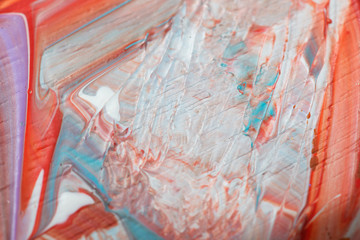 Abstract acrylic painted multicolored closeup background