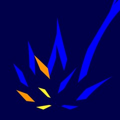 Blue Orange Abstract Fire - Molotov Coctail