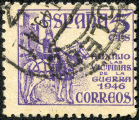stamp printed by Spain, shows medieval Knight