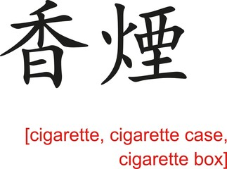 Chinese Sign for cigarette, cigarette case, cigarette box