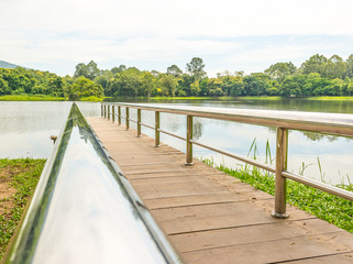 stainless steel bridge or pier at lake