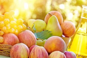 Autumn fruit and wine