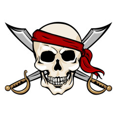 Vector  Cartoon Pirate Skull in Red Bandana with Cross Swords