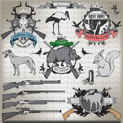 Hunting set of elements and animals. Vector.
