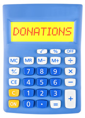Calculator with Donations on display isolated on white