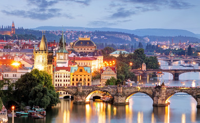 Wall Murals Prague Prague cityscape at night