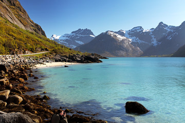 Wall Mural - Mountains and fjord in Norway - Lofoten