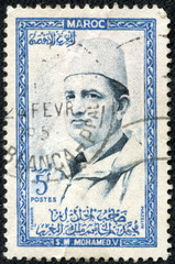 stamp printed in Morocco shows Sultan Mohammed V
