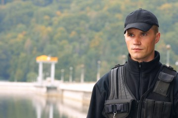 Security guard in uniform, portrait