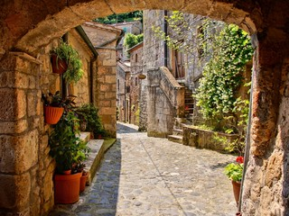 Wall Mural - Arched cobblestone street in a Tuscan village, Italy