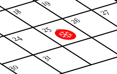 Calendar with Christmas day marked
