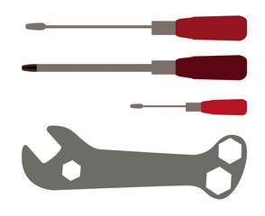 Screwdriver and Wrench. Tools. Vector Illustration.