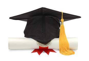 Diploma and Black Grad Hat