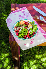 Outdoor Mouthwatering Summer Salad with Feta