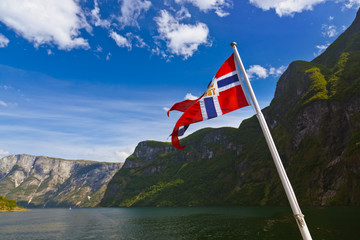 Norway flag and Sognefjord
