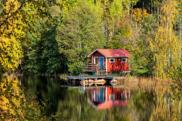 Traditional Swedish summer cottage during autumn