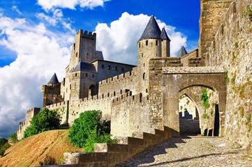 Fotorolgordijn Kasteel medieval castles of France - Carcassonne, most biggest forteress