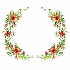 watercolor bright beautiful flower wreath