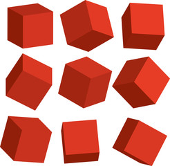 Illustration of Red 3D cubes in different positions