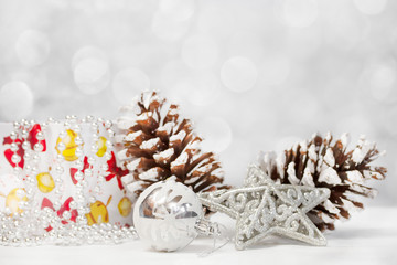 Christmas background with Christmas decorations.