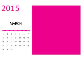 Illustration of a Simple 2015 year calendar