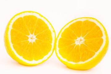 sliced of orange on white background