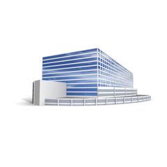 Modern office on white background, 3D render.